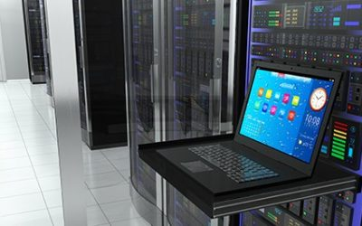 Laptop next to a data virtualization server